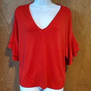Express red v-neck shirt